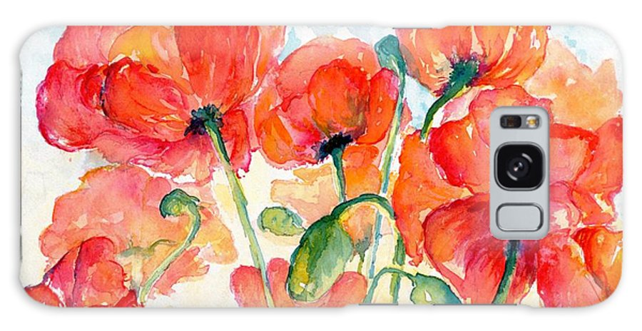 Orange Galaxy S8 Case featuring the painting Orange Field Of Poppies Watercolor by CheyAnne Sexton