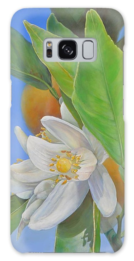 Acrylic Galaxy Case featuring the painting Orange Naissante by Muriel Dolemieux