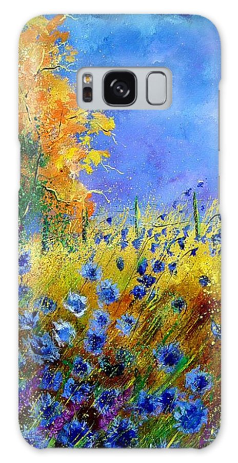 Poppies Galaxy S8 Case featuring the painting Orange Tree And Blue Cornflowers by Pol Ledent
