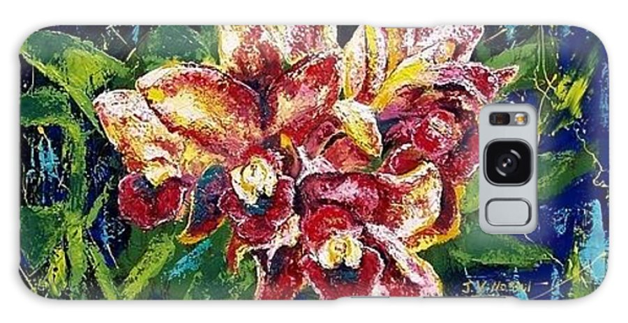 Flora Galaxy S8 Case featuring the painting Orchid Explosion by Janet Villasmil