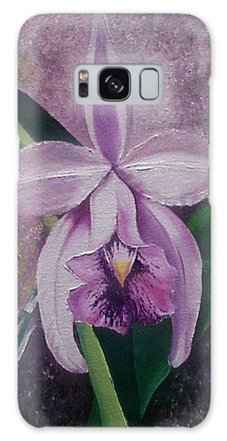 Orchid Purple Floral Botanical Galaxy Case featuring the painting Orchid Lalia by Karin Dawn Kelshall- Best