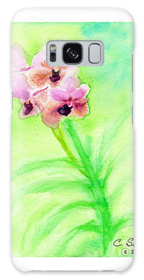 C Sitton Painting Paintings Galaxy S8 Case featuring the painting Orchids by C Sitton