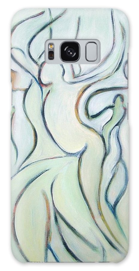 Abstract Galaxy S8 Case featuring the painting Oregon Country Fair Dancing The Night Away by Susan Craik