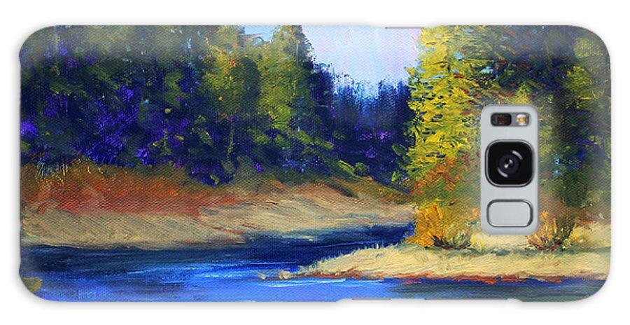 Oregon Galaxy S8 Case featuring the painting Oregon River Landscape by Nancy Merkle