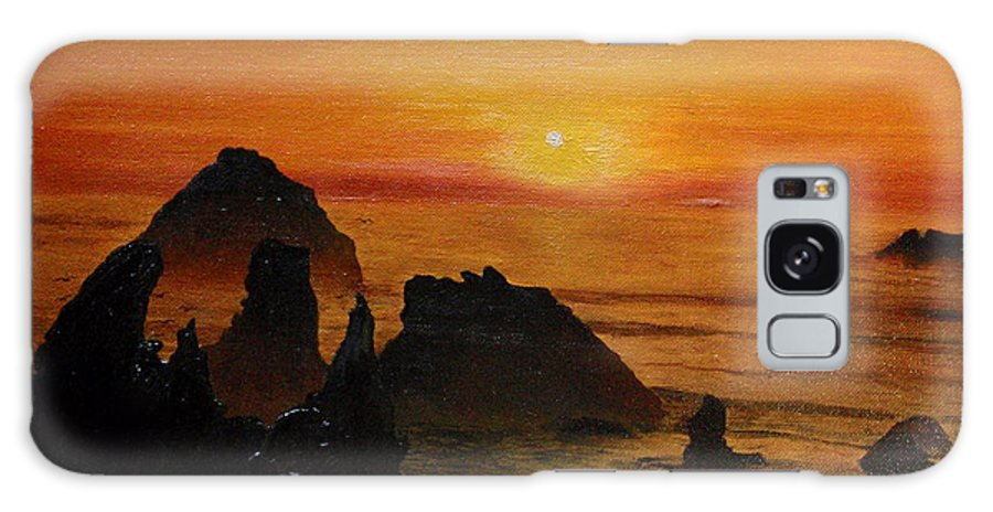 Sunset Galaxy S8 Case featuring the painting Oregon Sunset by Suzette Kallen