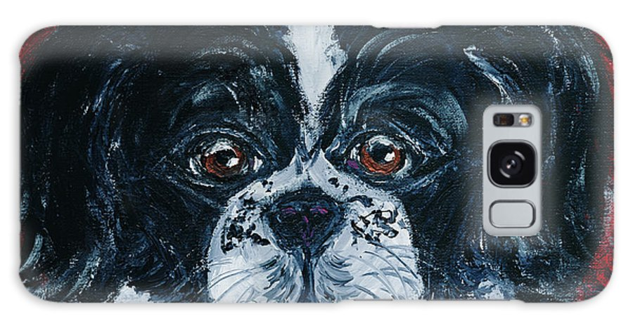 Black And White Peke Galaxy S8 Case featuring the painting Orieo by Ania M Milo