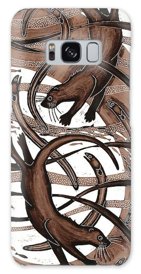 Print Galaxy S8 Case featuring the photograph Otter With Eel, 2013 Woodcut by Nat Morley