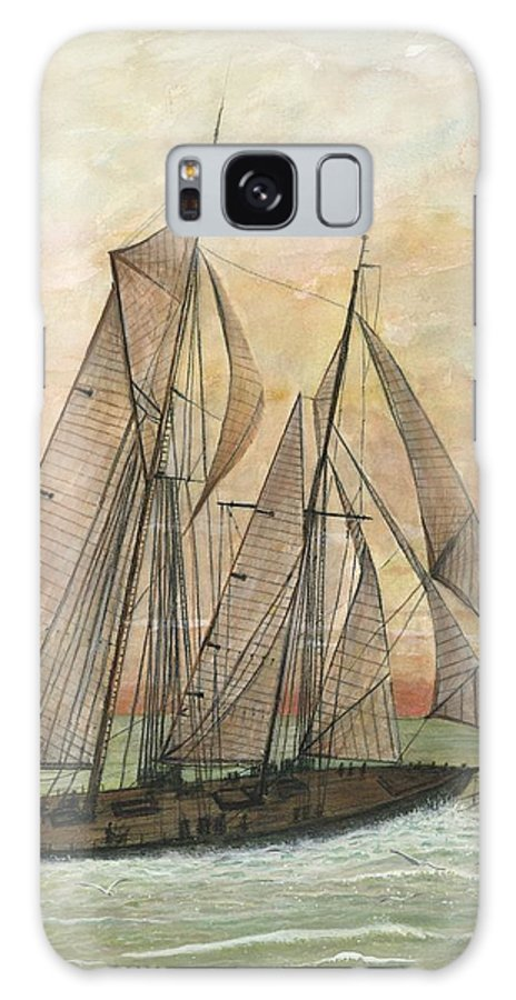 Sailboat; Ocean; Sunset Galaxy Case featuring the painting Out To Sea by Ben Kiger