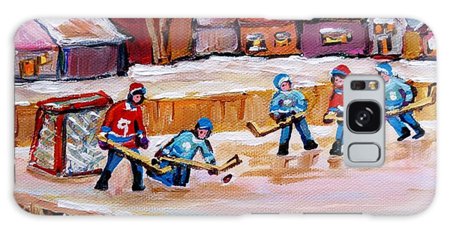 Country Hockey Rink Galaxy S8 Case featuring the painting Outdoor Rink Hockey Game In The Village Hockey Art Canadian Landscape Scenes Carole Spandau by Carole Spandau