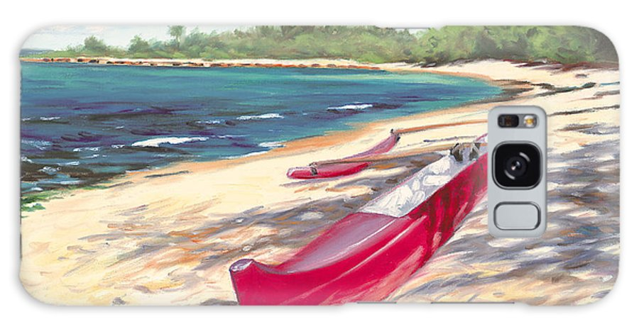 Outrigger Galaxy S8 Case featuring the painting Outrigger - Haleiwa by Steve Simon