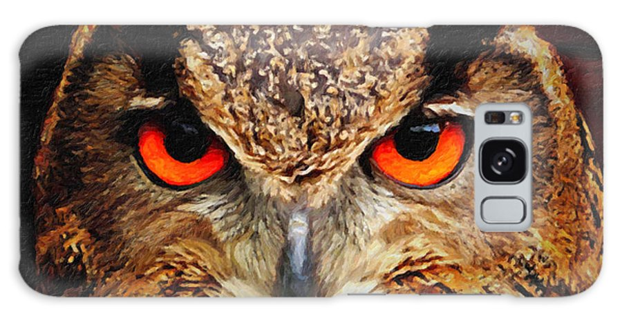 Owl Eyes Galaxy S8 Case featuring the painting Owl Eyes by Safran Fine Art