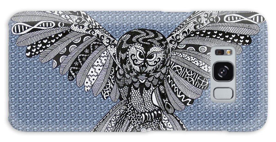 Edinburgh Festival Galaxy S8 Case featuring the drawing Owl In Flight Bubbles by Karen Larter