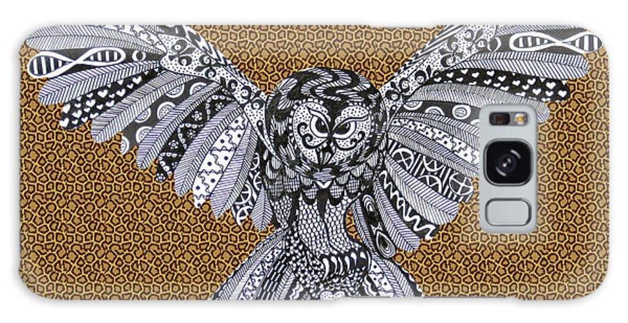 Edinburgh Festival Galaxy S8 Case featuring the drawing Owl In Flight Leopard by Karen Larter