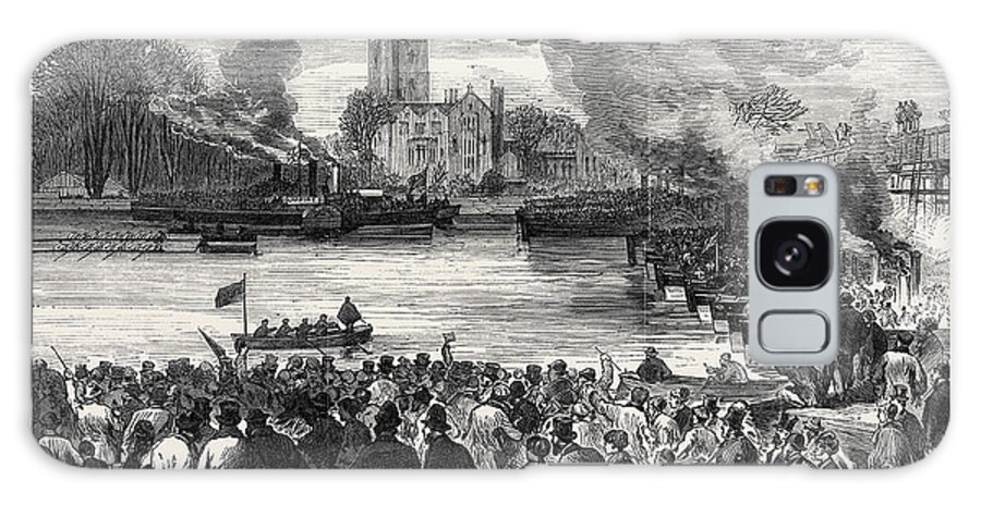 Oxford Galaxy S8 Case featuring the drawing Oxford And Cambridge Universities Boat Race The Start by English School