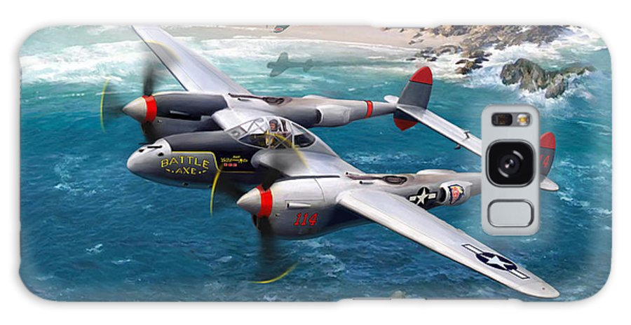 Airplanes Galaxy S8 Case featuring the painting P-38 Lightning Battle Axe by Mark Karvon