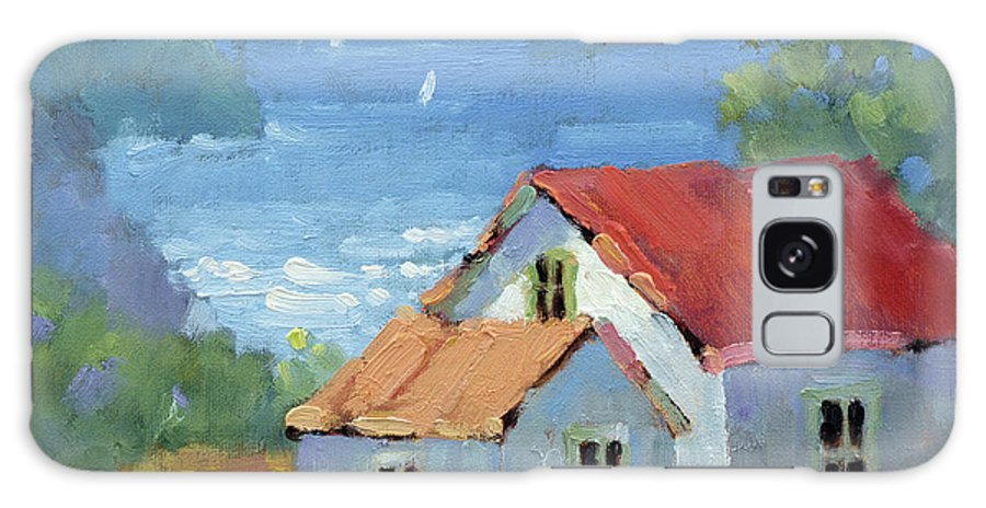Impressionism Galaxy Case featuring the painting Pacific View Cottage by Joyce Hicks