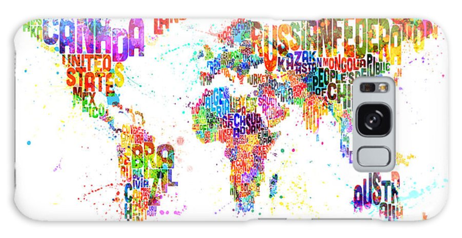 Map Of The World Galaxy S8 Case featuring the digital art Paint Splashes Text Map Of The World by Michael Tompsett