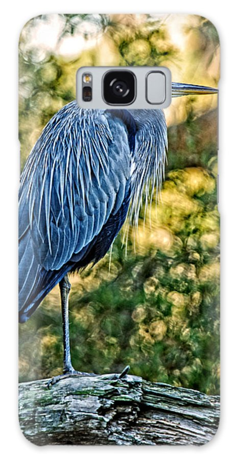 Great Blue Heron Galaxy S8 Case featuring the photograph Painted Great Blue Heron by Lara Ellis
