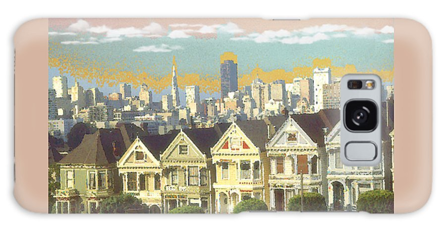 San+francisco Galaxy S8 Case featuring the painting San Francisco Alamo Square - Watercolor Illustration by Peter Potter