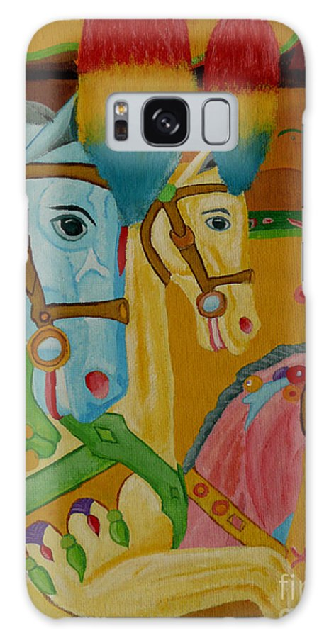 Carousel Galaxy S8 Case featuring the painting Painted Ponies by Anthony Dunphy