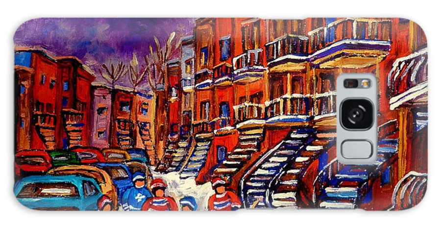 Montreal Galaxy S8 Case featuring the painting Paintings Of Montreal Hockey On Du Bullion Street by Carole Spandau