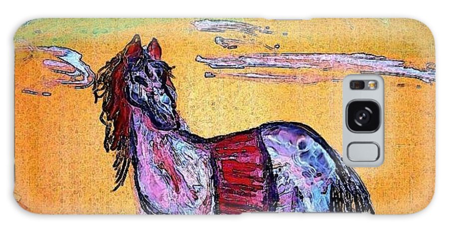 Palomino Galaxy S8 Case featuring the painting Palomino Horse In Desert by Peggy Leyva Conley