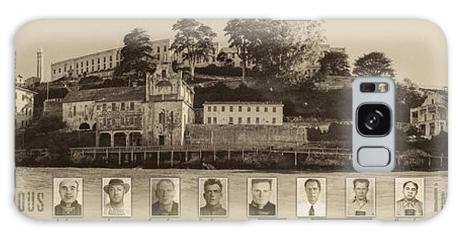 Alcatraz Galaxy S8 Case featuring the photograph Panorama Alcatraz Infamous Inmates Sepia by Scott Campbell