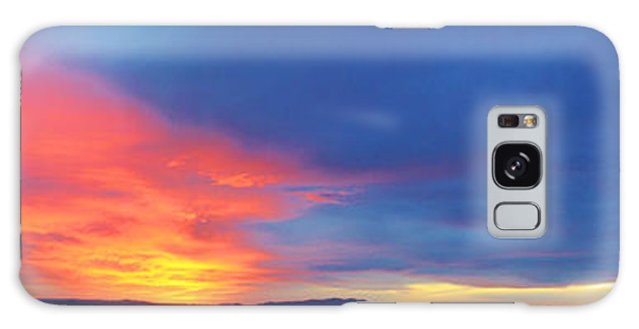 Roena King Galaxy S8 Case featuring the photograph Panorama Fire In The Sky Sunset by Roena King