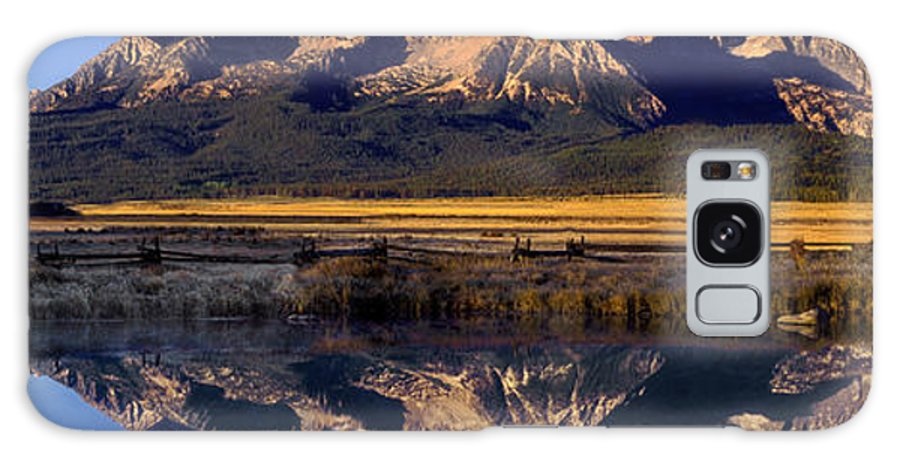 North America Galaxy S8 Case featuring the photograph Panorama Reflections Sawtooth Mountains Nra Idaho by Dave Welling