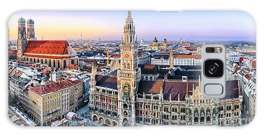 Muenchen Galaxy S8 Case featuring the photograph Panorama View Of Munich City Center by Michael Abid