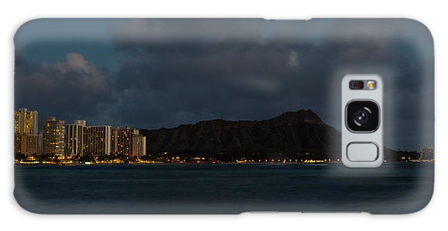Skyline Galaxy S8 Case featuring the photograph Panorama - Waikiki And Diamond Head In Honolulu Hawaii Skyline At Night by Georgia Mizuleva