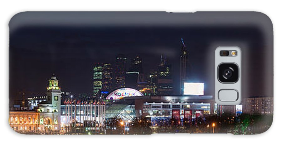 Architecture Galaxy S8 Case featuring the photograph Panoramic View Of Kiev Railroad Station And Europe Square At Night by Alexander Senin