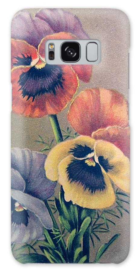 #vintagephotography #vintagepostcard #flowers #pansies Galaxy S8 Case featuring the photograph Pansies Bouquet by Florinel Nicolai Deciu