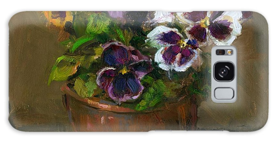 Pansy Galaxy S8 Case featuring the painting Pansies In Copper Pot by Linda Dunbar
