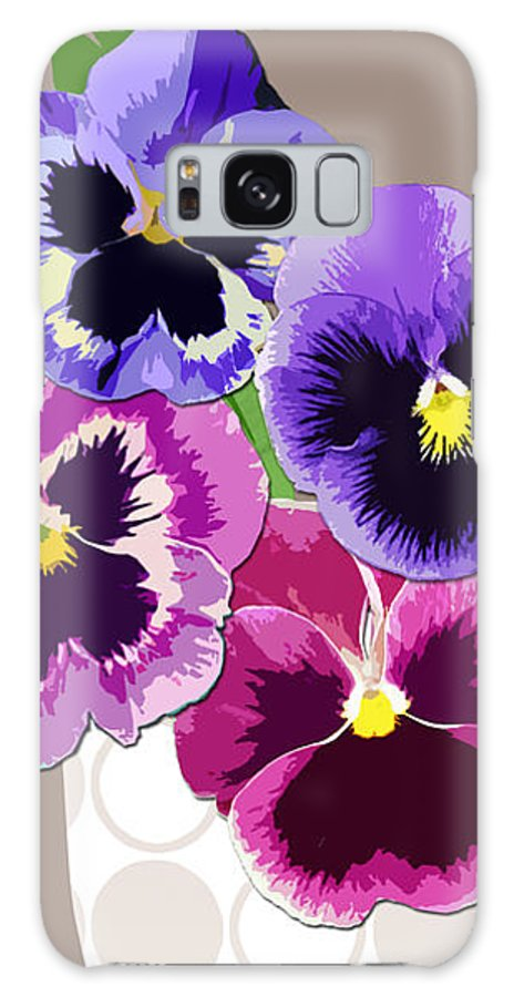 Floral Galaxy S8 Case featuring the digital art Pansy Passion by Valerie Drake Lesiak