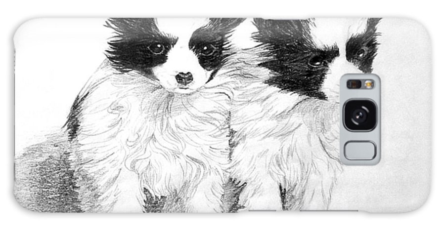 Puppy Galaxy S8 Case featuring the drawing Papillon Puppies by Shirley Miller