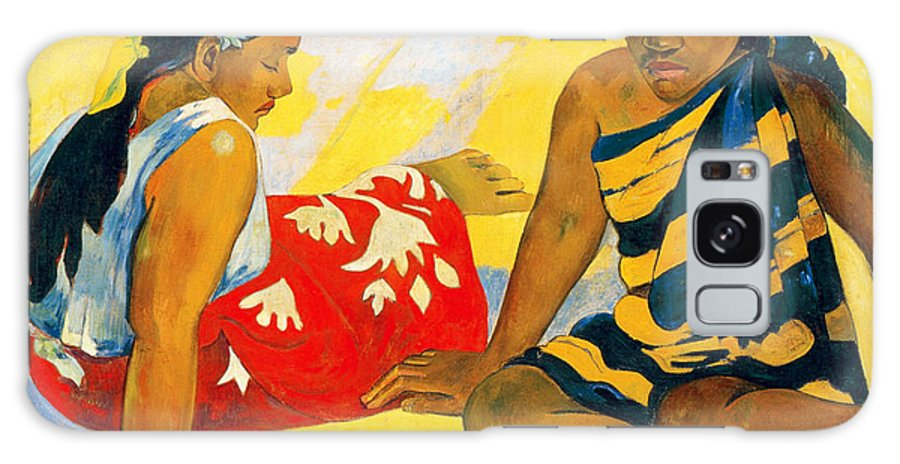 Paul Gauguin Galaxy S8 Case featuring the painting Parau Api. What News by Paul Gauguin