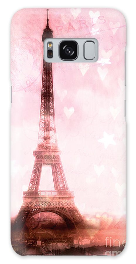 Paris Eiffel Tower Galaxy S8 Case featuring the photograph Paris Pink Eiffel Tower - Shabby Chic Paris Dreamy Pink Eiffel Tower With Hearts And Stars by Kathy Fornal