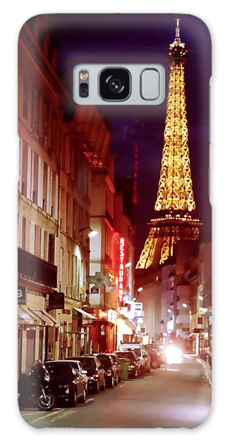 Eiffel Tower Galaxy S8 Case featuring the mixed media Paris Romantic Night Lights by Alex Khomoutov