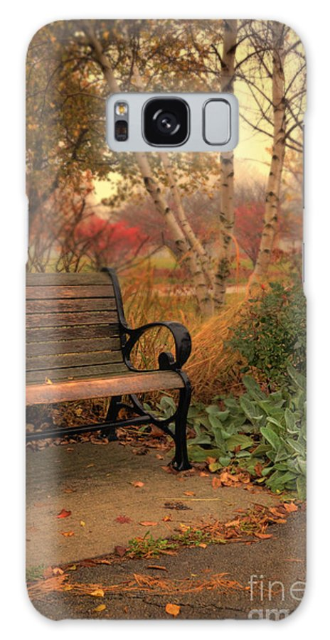 Bench Galaxy S8 Case featuring the photograph Park Bench In Autumn by Jill Battaglia