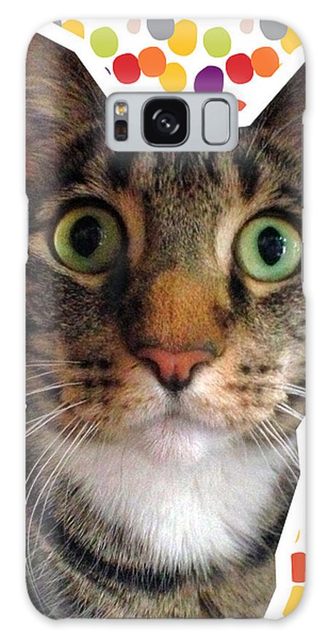 Cat Galaxy S8 Case featuring the photograph Party Animal- Cat With Confetti by Linda Woods