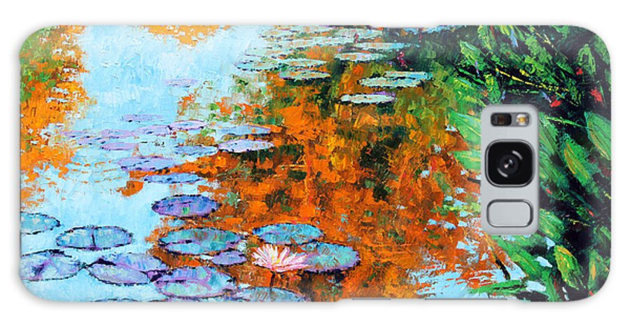 Garden Pond Galaxy Case featuring the painting Passing Season by John Lautermilch
