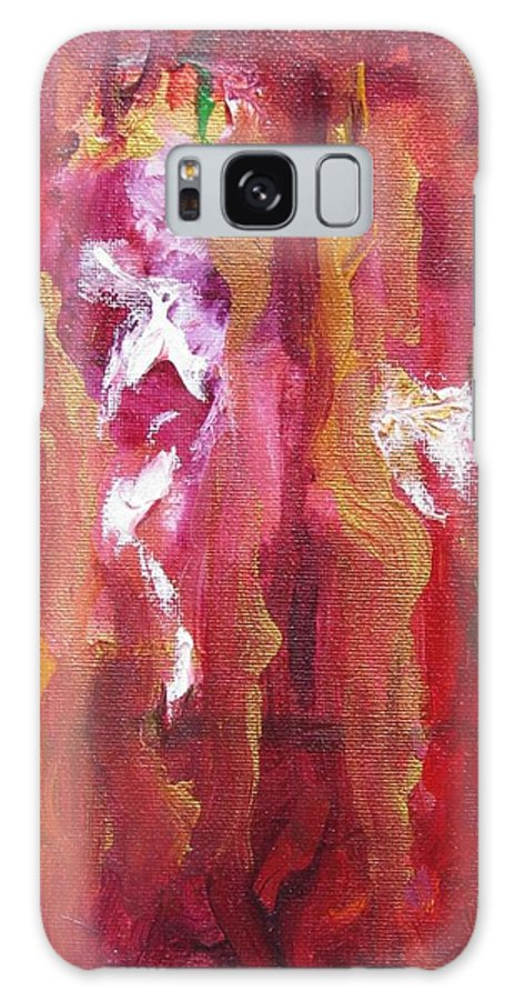 Red Purple Flames Gold Stripes Abstract Galaxy S8 Case featuring the painting Passion by Dianne Margaret Evans