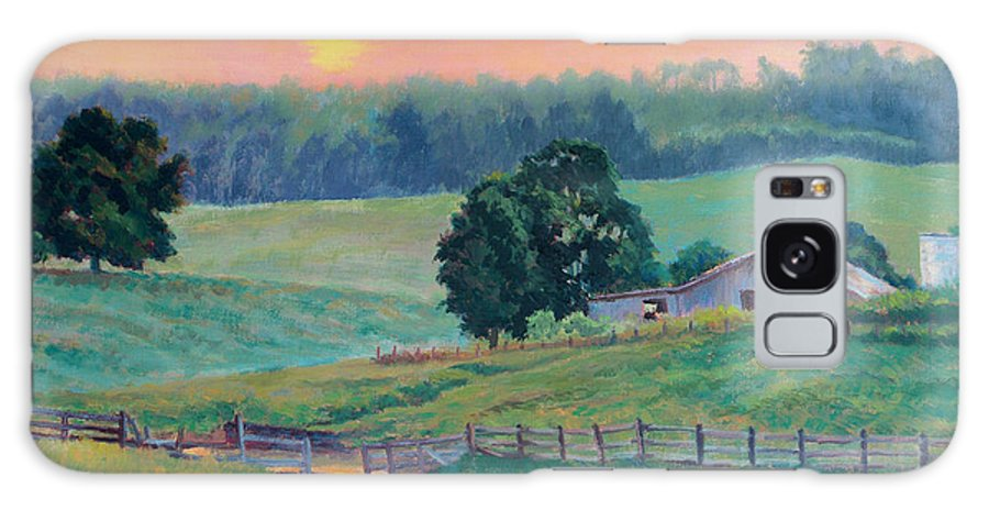 Impressionism Galaxy Case featuring the painting Pastoral Sunset by Keith Burgess