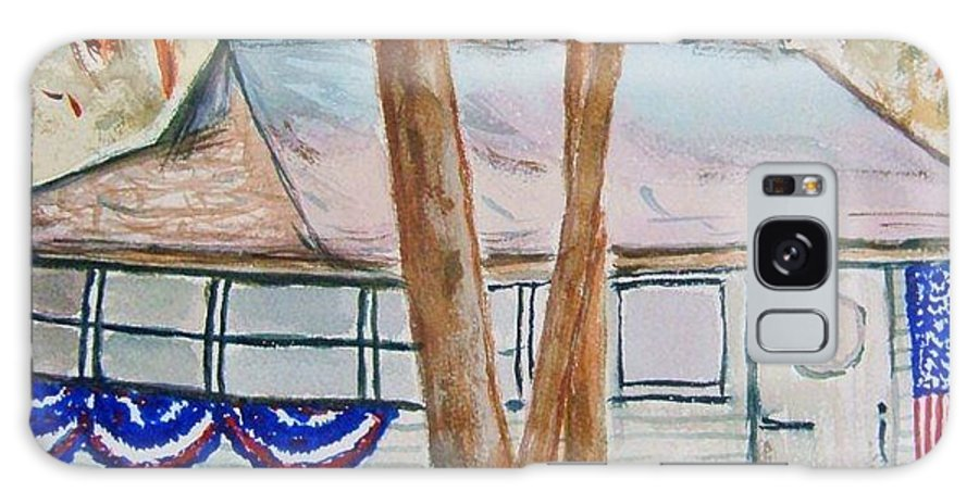 Lake Cottage Galaxy S8 Case featuring the painting Patriotic Cottage by Elaine Duras