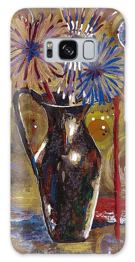Contemporary Galaxy S8 Case featuring the painting Patriotism Blooms by Margaret Bobb