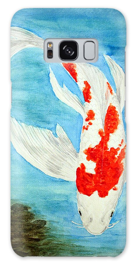 Koi Galaxy S8 Case featuring the painting Paul's Koi by Marna Edwards Flavell