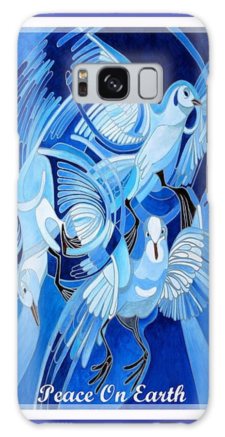 Christmas Galaxy S8 Case featuring the painting Peace On Earth Greetings With Doves by Taiche Acrylic Art