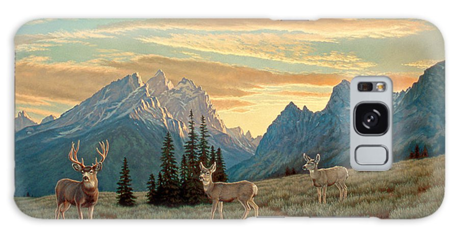 Landscape Galaxy S8 Case featuring the painting Peaceful Evening - Tetons by Paul Krapf