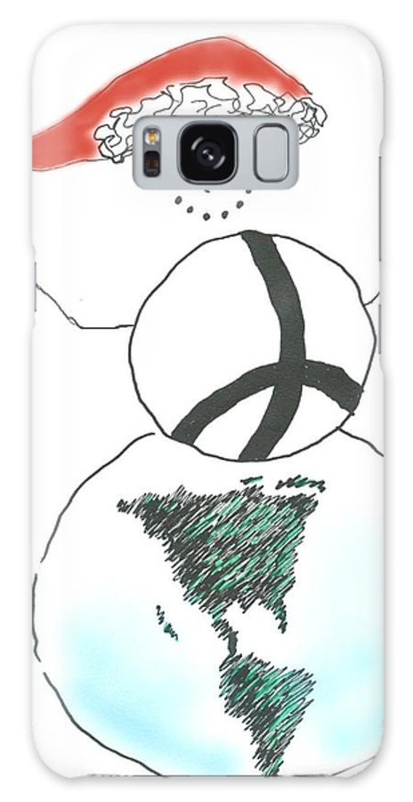 Snowman Galaxy S8 Case featuring the drawing Peacemaker Snowman by Lauri Arntsen